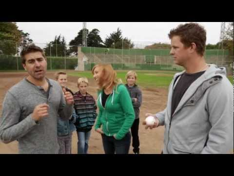 Matt Cain w/ Kari Byron & Tory Belleci from Mythbusters destroy things mid air with his fastball