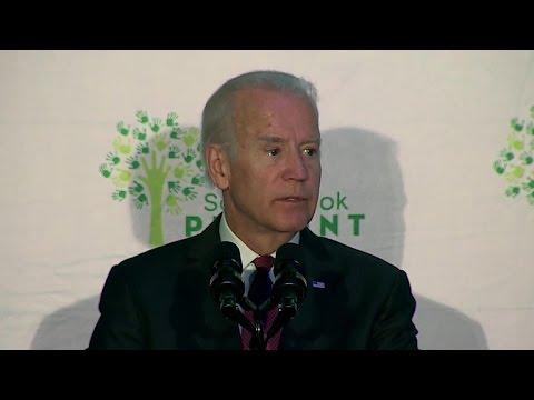 Joe Biden speaks to Sandy Hook families, addresses gun control