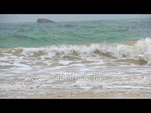 Indian Ocean waves wash up on Sri Lanka shores, in slow motion