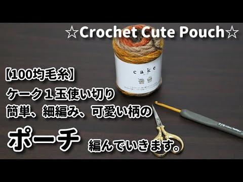 毛糸1玉シリーズ☆【100均毛糸で編み物】ケーク1玉使い切って簡単細編み、可愛い柄のポーチを編んで行きます☆Crochet Cute Pouch☆ポーチ編み方