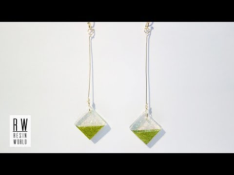 DIY Rhombus Shape Resin Earrings 【レジン|Resin Jewelry】