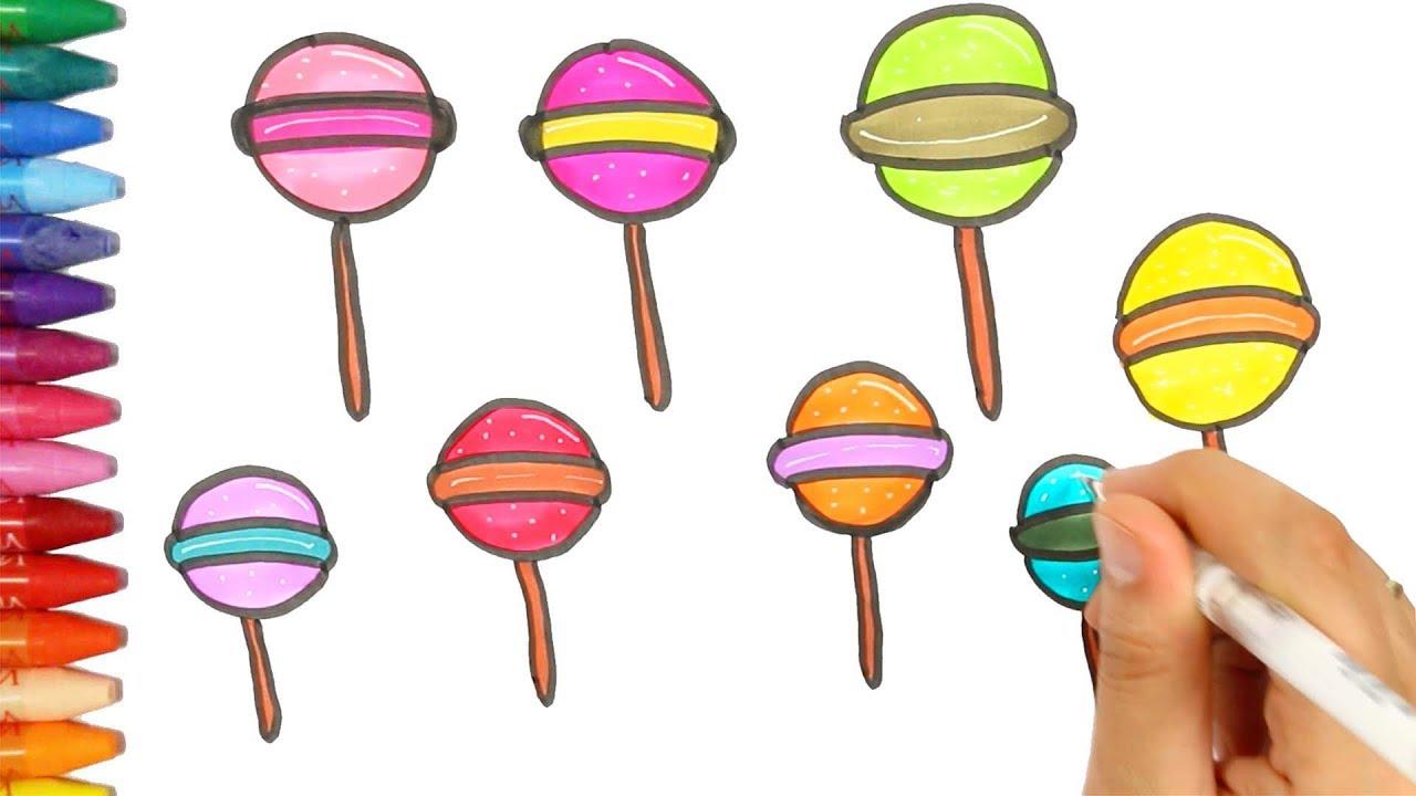 Wie zeichnet man Lutscher | Süßigkeiten Färbung | Zeichnen und ...