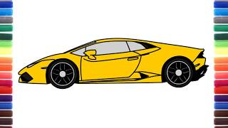 How to draw a car Lamborghini Huracan Side View step by step