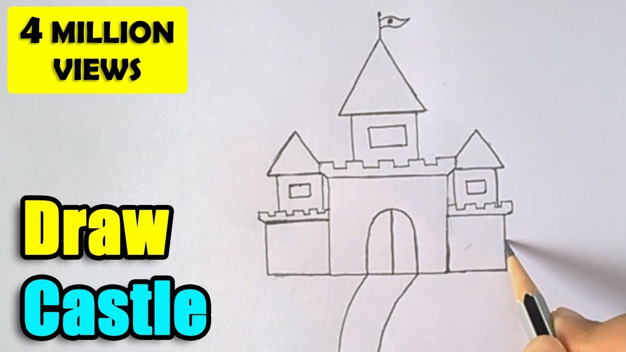 Uncategorized How To Drawing For Kids how to draw castle for kids youtube
