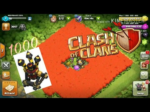 Clash of clans- 1000 BALOONS with 1000 AIR DEFENSE base