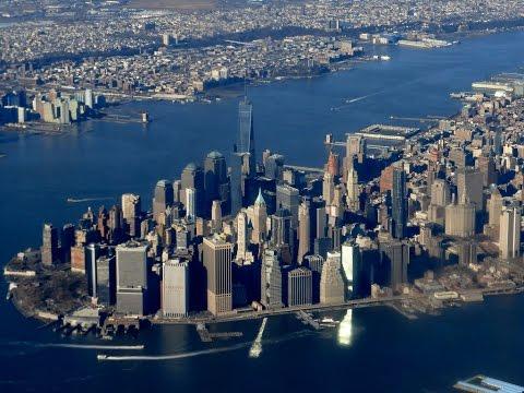 New York Manhattan Skyline view, approach into La Guardia