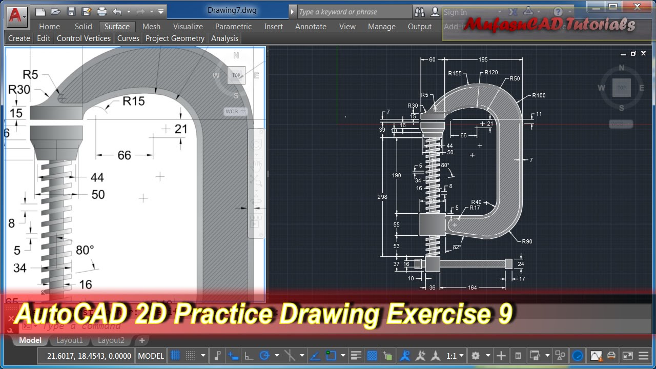 AutoCAD 2D Practice Drawing  Exercise 9  Basic Tutorial