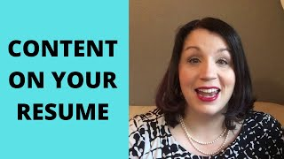 Content On Your Resume