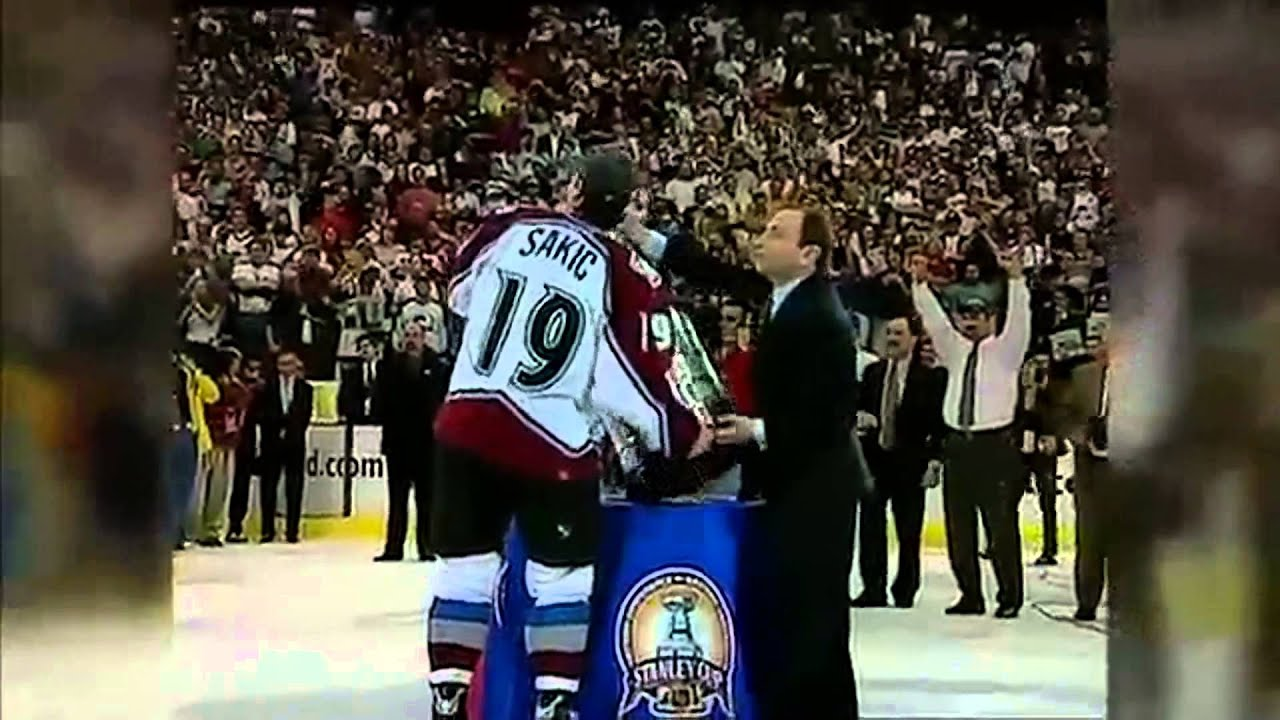 innovative design 0aa43 b4930 Colorado Avalanche Win Game 7 and Joe Sakic Hands Ray Bourque The Stanley  Cup 2001 CBC/ESPN