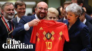 May receives footballer Eden Hazard's shirt from Belgian PM thumbnail