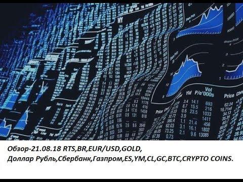 Обзор-21.08.18 RTS,BR,EUR/USD,GOLD, Доллар Рубль,Сбербанк,Газпром,ES,YM,CL,GC,BTC,CRYPTO COINS
