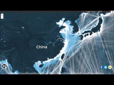 World Map of Ship Routes