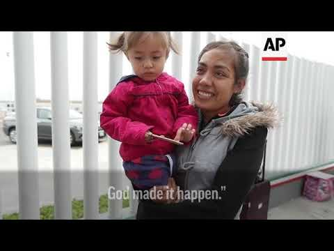 (25 Oct 2018) A woman with a small entourage was quickly surrounded by nearly 100 asylum seekers when she arrived at the Mexican entrance to the busiest border crossing with the United States. She opened a tattered, hardcover notebook bound by silver duct tape and began shouting handwritten numbers listed inside. 