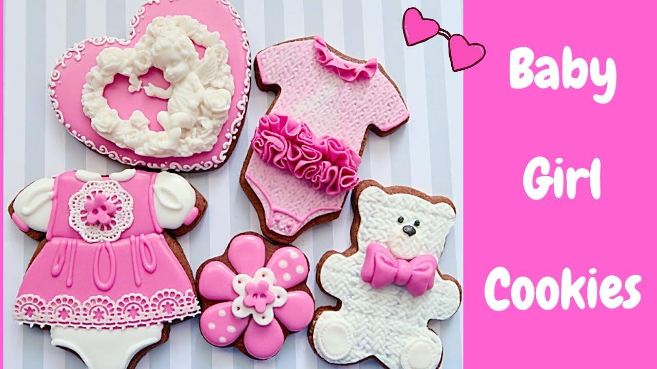 Baby Girl Cookies Baby Shower Youtube
