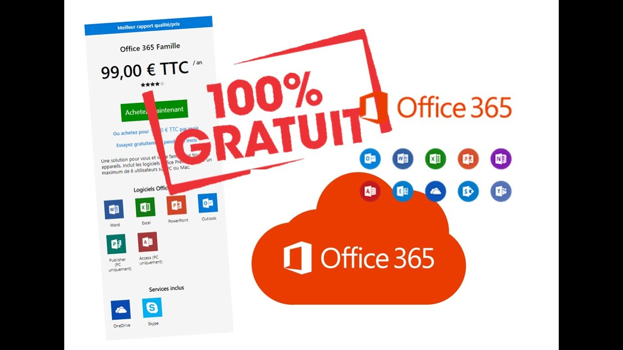 Office 365 Mac Gratuit Comment Avoir Office 365 Famille Gratuit Word Exel Powerpoint Outlook Publisher Access