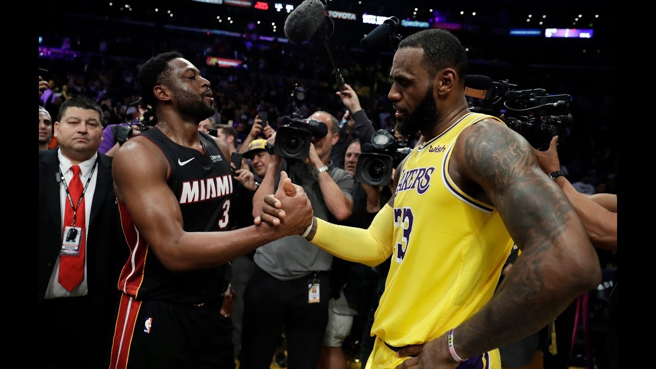 9feb4a638f9b LeBron James and Dwyane Wade enjoy their final battle as Lakers edge Heat –  Orange County Register