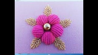 Bordando Rosa pink com ponto nó de ouro