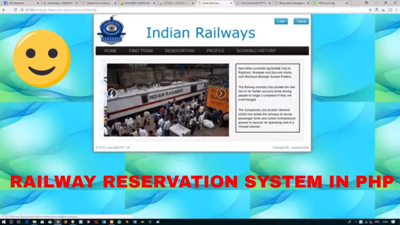 Railway Reservation System Project in php