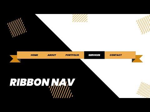 How to make Ribbon Style Navbar with HTML & CSS | Navbar CSS