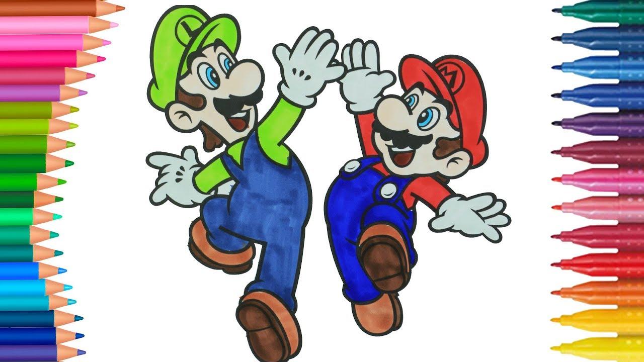 Super Mario Y Luigi Bros De Pintar Dibujos Para Ninos Learn