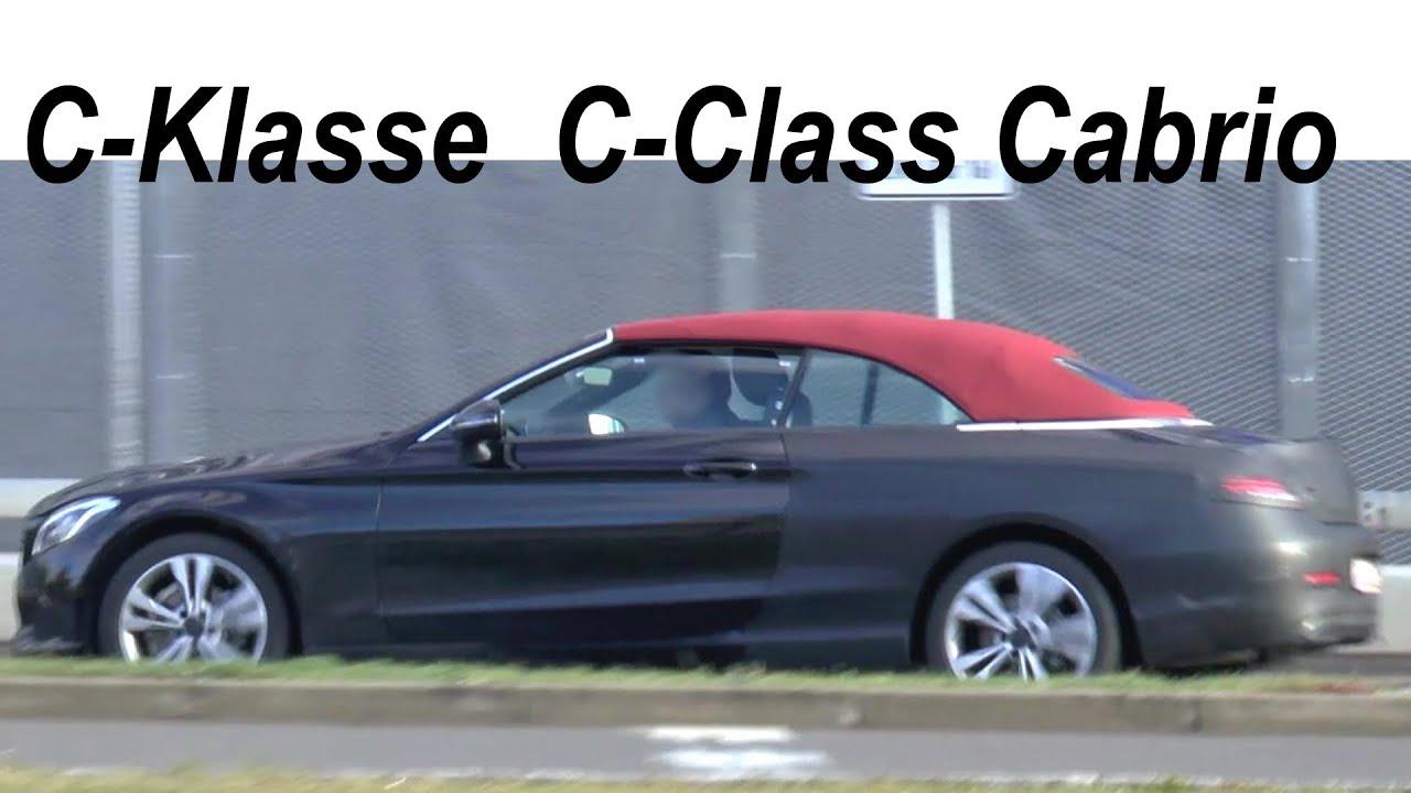 red top mercedes erlk nig c klasse cabrio c class cabrio 2016 rotes verdeck a205 spy video. Black Bedroom Furniture Sets. Home Design Ideas