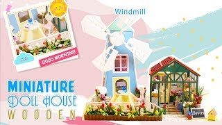 DIY DollHouse Wooden: How To Make Miniature Dollhouse With Greenhouse Flowers And Windmill