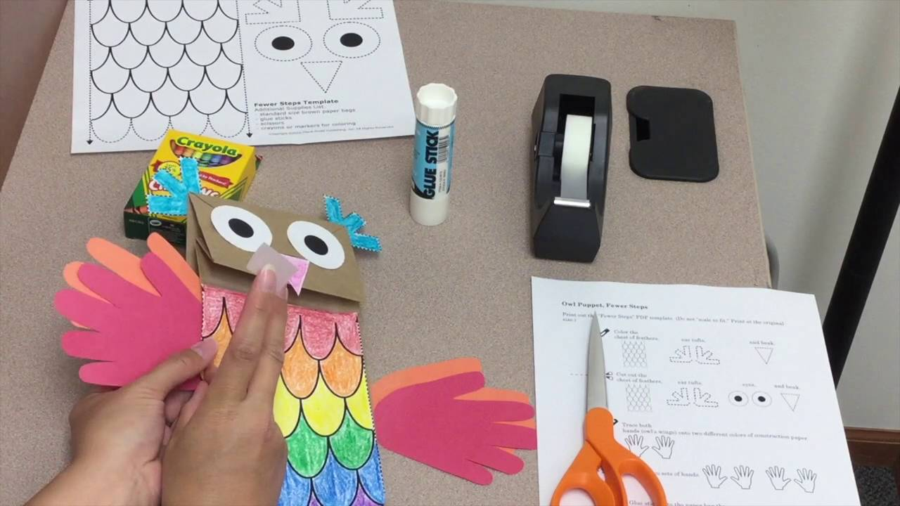Who S Hootin Paper Bag Owl Puppet Craft Tutorial From Musick8 Com