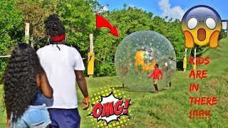 CANT BELIEVE THE KIDS DID THIS THEY WENT ZORBING- YAYA CRIED
