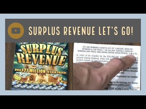 SURPLUS REVENUE! Great Odds! Colorado Lottery Scratch Tickets