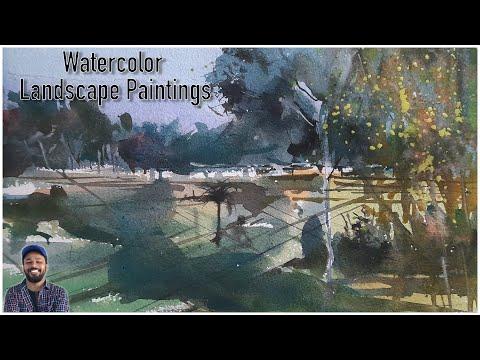 Watercolor Landscape Paintings | Simple Watercolor Techniques | Step by Step Process | RakiArt