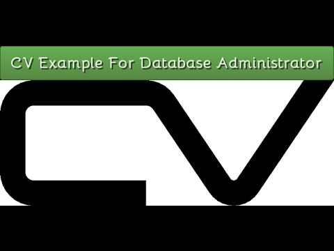 Sample Resume For Database Administrator CV Example