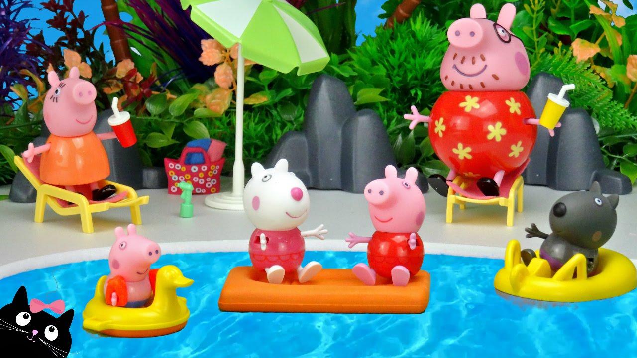 Peppa pig va a la piscina del parque acuatico de playmobil for Peppa pig piscina