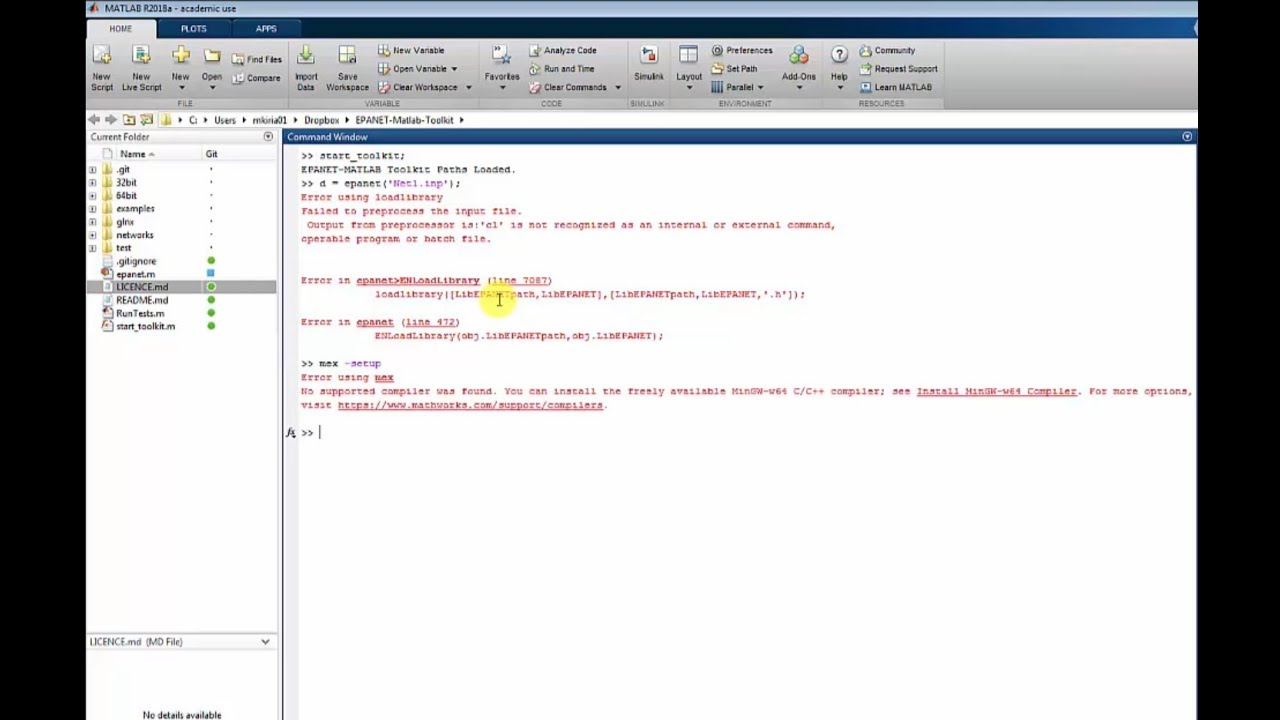 How to install MinGW-w64 compiler for EPANET-MATLAB-Toolkit