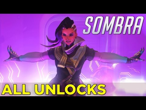 Sombra: ALL UNLOCKS! Skins, Emotes, Sprays, Victory Poses, Voice Lines, Highlight Intros & Weapons!