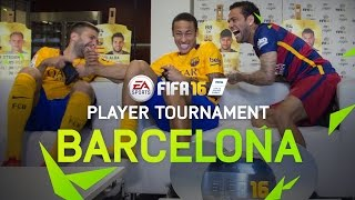 FIFA 16 - FC Barcelona Player Tournament - Neymar, Alves, Alba, Turan, Ter Stegen, Bravo(FIFA 16 tournament with FC Barcelona players Neymar Jr, Alves, Alba, Turan, Ter Stegen, Bravo. FIFA 16 Out Now: http://o.ea.com/44359 See the new features: ..., 2015-11-19T14:58:32.000Z)