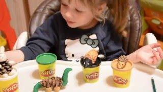 Поделки из шишек и пластилина PlayDoh. Динозавр, зайчик и ежики - Лика Хурция