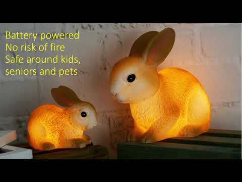 Handmade and Hand Painted Real Wax Easter Bunny LED Lights