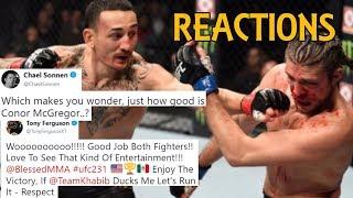 MMA Reacts to Max Holloway vs Brian Ortega 4th Round Stoppage | Valentina def. Joanna - UFC 231