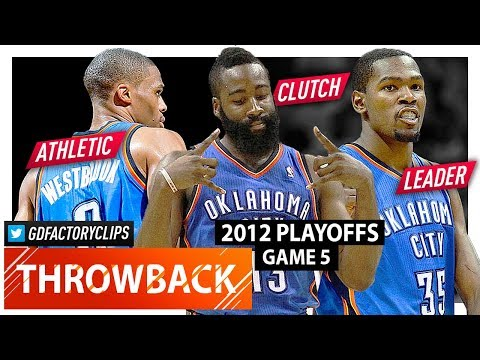 Kevin Durant, Russell Westbrook & James Harden WCF Game 5 Highlights vs Spurs (2012 Playoffs) - EPIC