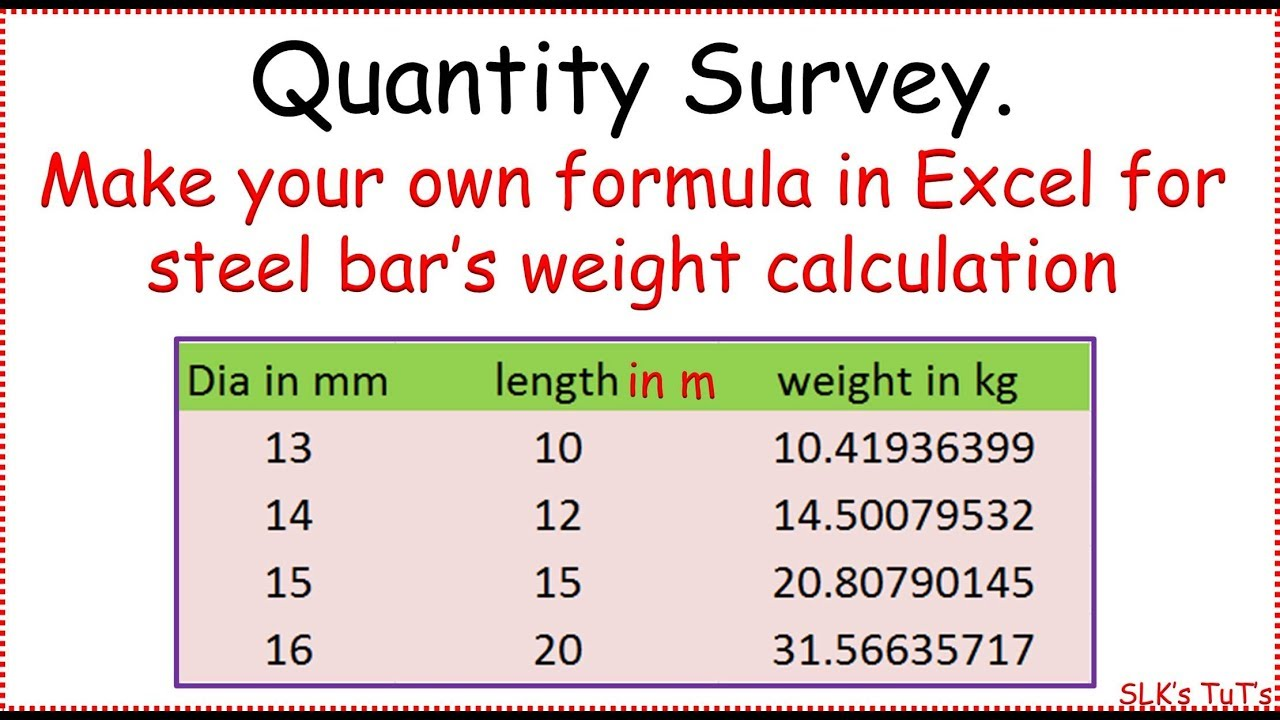 Construction Steel Weight Calculation