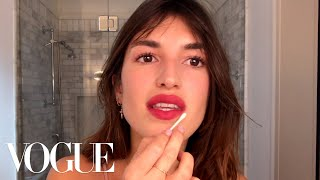 Jeanne Damas Does French-Girl Red Lipstick-And a 5-Second Easy Bang Trim | Beauty Secrets | Vogue