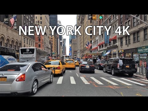 Driving Downtown - Time Square - NYC USA 4K