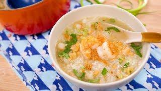 "Thai Breakfast Rice Soup Recipe ""Kao Tom"" - Hot Thai Kitchen! ข้าวต้มกุ้ง"
