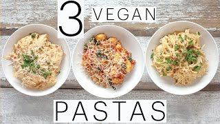 3 EASY VEGAN PASTA RECIPES | Vegan Carbonara | VEGAN Alfredo | Spinach & Sausage Gnocchi | Edgy Veg