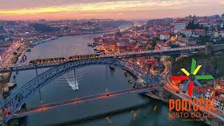 Ribeira do Porto e Gaia ao anoitecer - Oporto and Gaia Ribeira aerial view at dusk - 4K Ultra HD