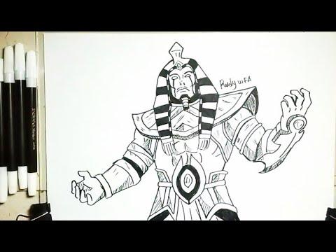 Cara Menggambar Roger Skin Anubis Hero Mobile Legends How To Draw