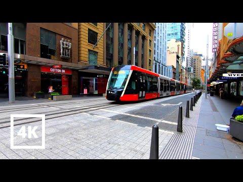 ⁴ᴷ⁶⁰ Sydney Walk: City Centre CBD - George St., QVB, Light Rail   Sydney Walking Tour 4K
