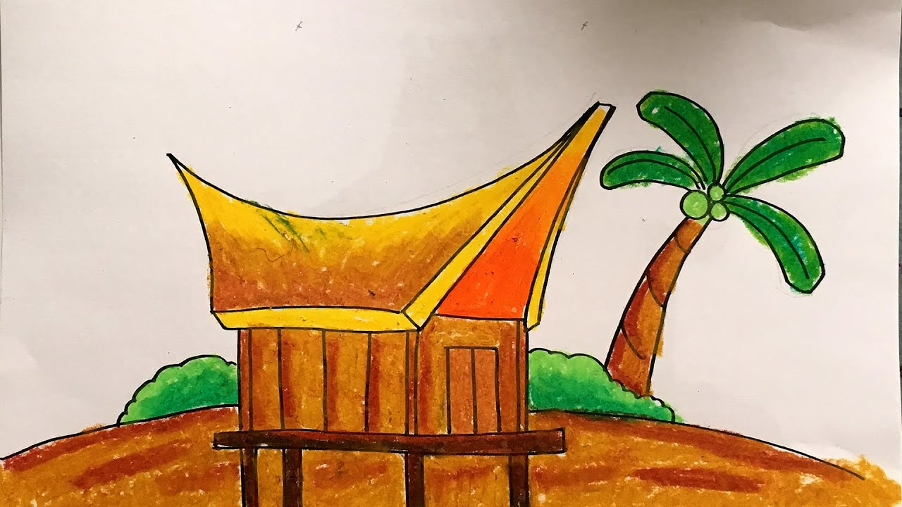 Menggambar Rumah Adat Suku Toraja Tongkonan Sulawesi Selatan