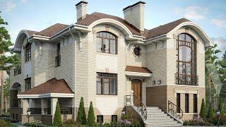 Проект дома в европейском стиле. Дом из кирпича с бассейном и цокольным этажом. Ремстройсервис М-180