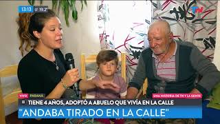 Tiene 5 años y adoptó a un abuelo que vivía en la calle thumbnail